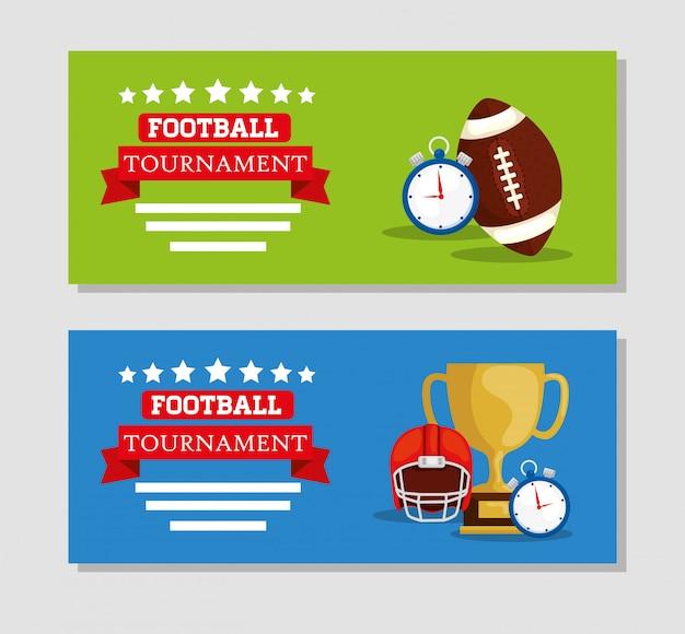 装飾とアメリカンフットボールトーナメントのバナーセット