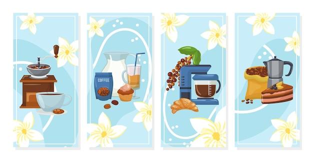 커피 배경 배너 세트. 커피 메이커, 커피 콩, 케이크, 페이스트리 및 아로마와 함께 신선한 음료 한잔. 레스토랑, 카페, 바, 커피 하우스 또는 상점 메뉴.
