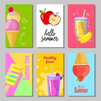 귀여운 달콤한 여름 배경 배너 세트입니다. 여름 레이아웃 디자인 인사말 카드입니다. 아이스크림, 과일 및 스무디