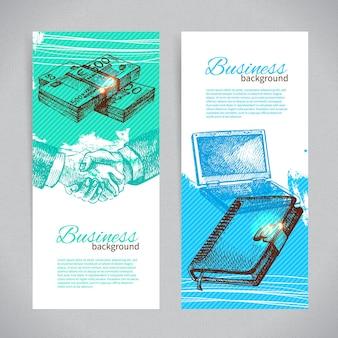手描きのビジネス背景のバナーセット
