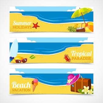 夏のビーチのバナーセット
