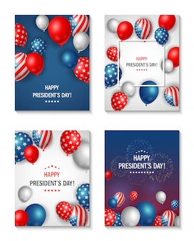 アメリカ大統領の日のバナーセット。ベクトルイラスト
