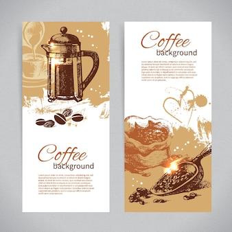 빈티지 커피 배경 배너 세트입니다. 레스토랑, 카페, 바, 다방 메뉴