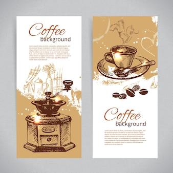 Баннер набор старинных кофейных фонов. меню для ресторана, кафе, бара, кофейни