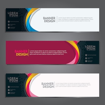 Banner set vector design templates with futuristic colorfully and wave geometric shape background