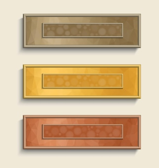 Banner set with  bokeh effect in golden, silver and bronze colors.