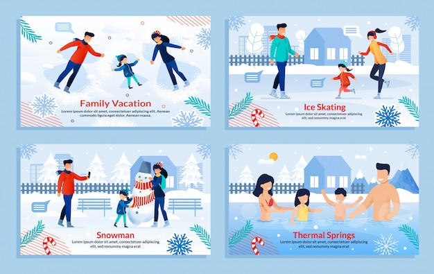 Banner set with family perform outdoor activities