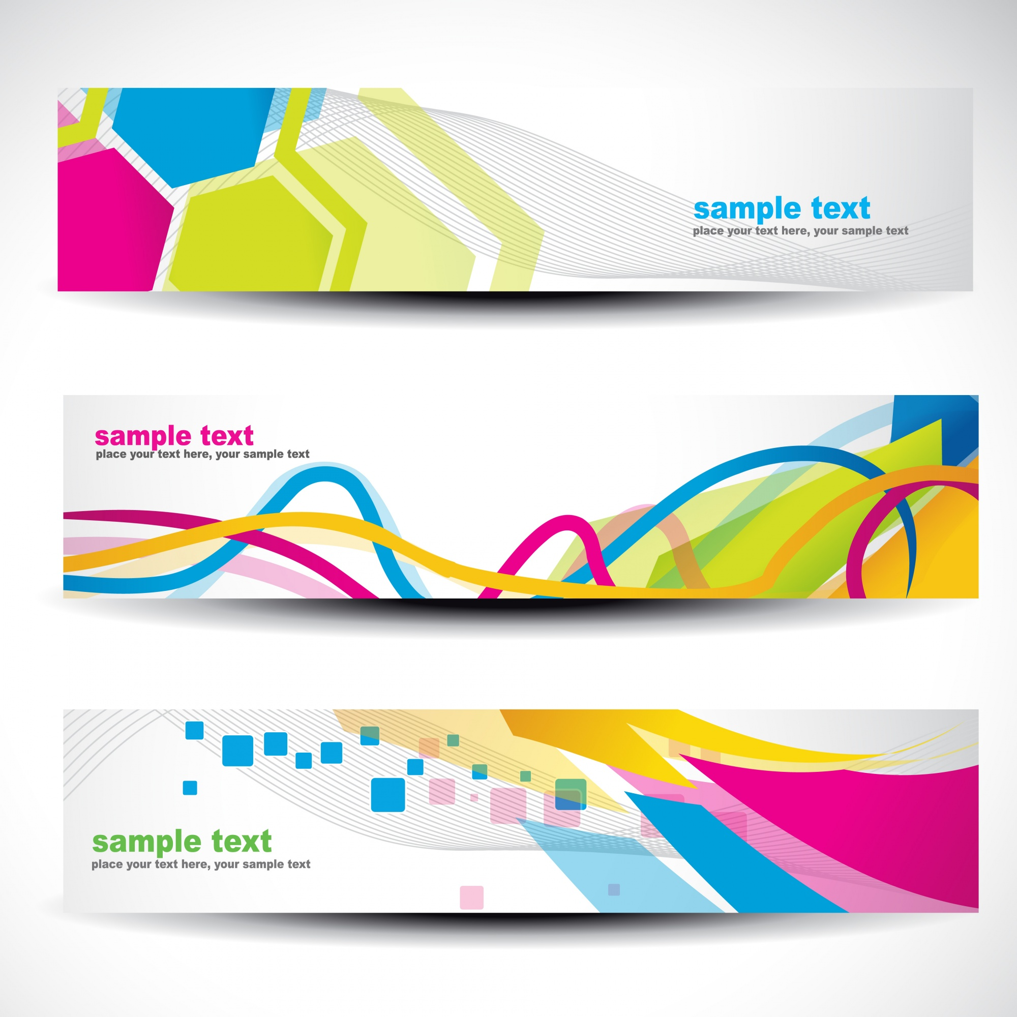 Banner set with modern colorful shapes