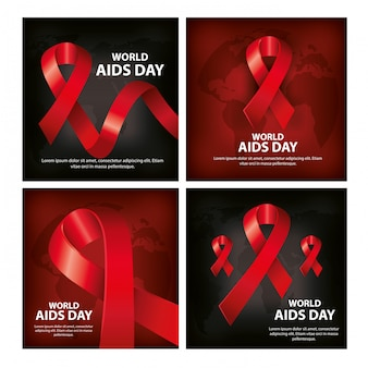 Banner set of world aids day with decoration