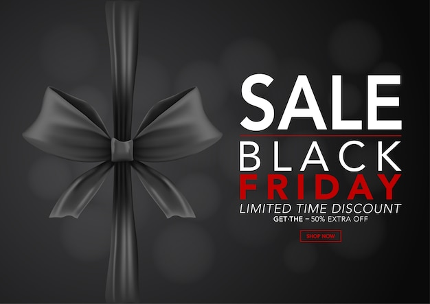 Banner shiny black ribbons with text black friday sale