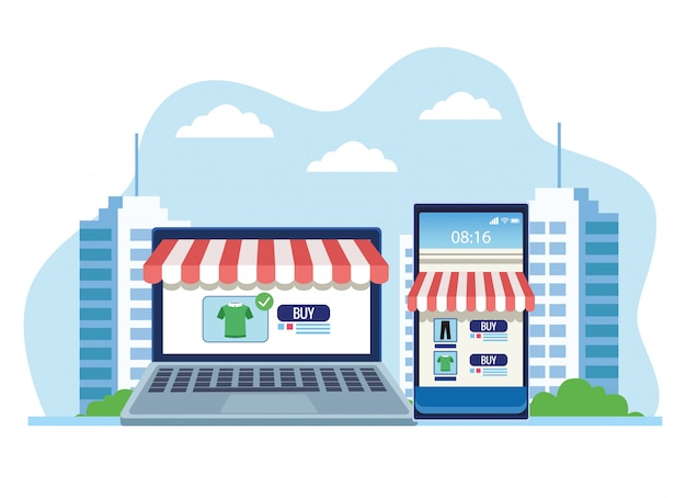 Banner shopping online with laptop and smartphone  illustration