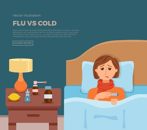 Banner of sick girl in bed with the symptoms of cold