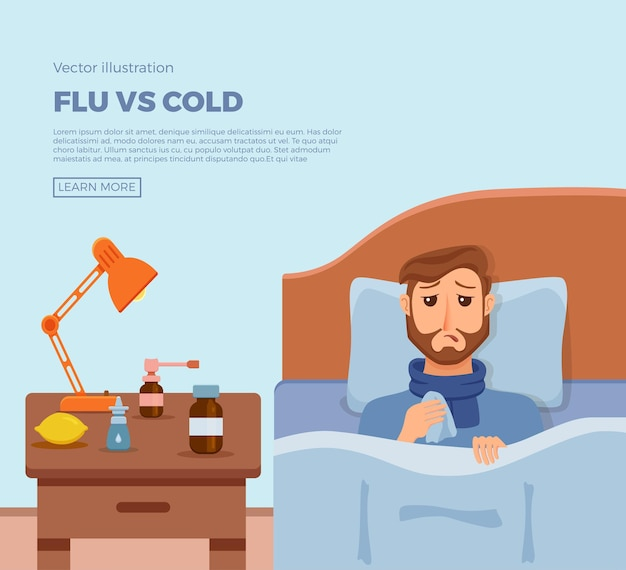 Banner of sick men in bed with the symptoms of cold, flu
