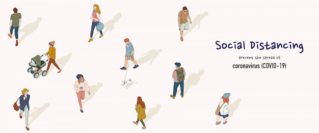 Banner of social distancing concept. people keep distance from each other in public to protect from covid-19. hand drawn style illustration.