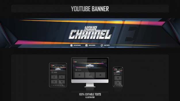 Banner for social media channel with fitness concept