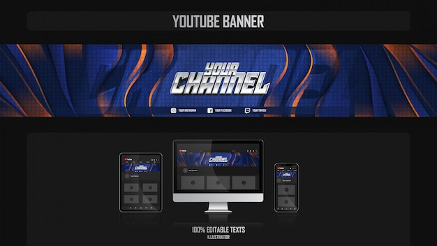 Banner for social media channel with futuristic concept