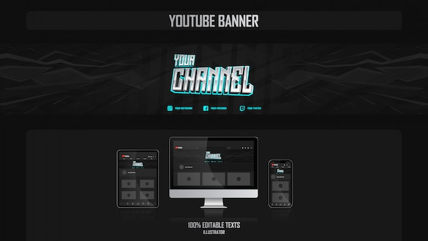 Banner for social media channel with gamer concept