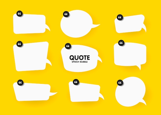 Banner, speech bubble, poster and sticker concept with sample text. white bubble message on bright yellow background for banner, poster.  illustration set