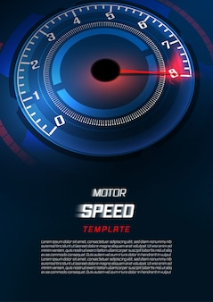 Banner speed motion background with fast speedometer car.