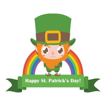 Banner for st. patrick's day with leprechaun and rainbow
