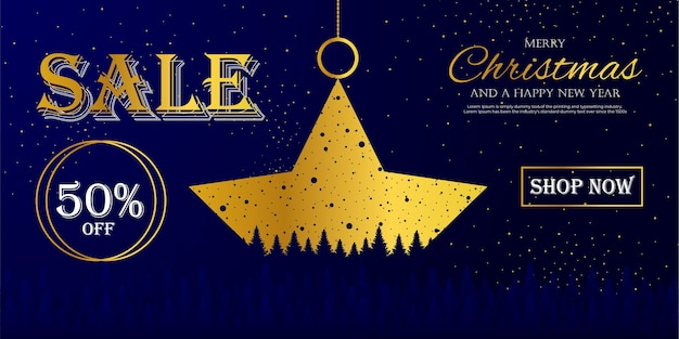 Banner stars sale promotion merry christmas and happy christmas