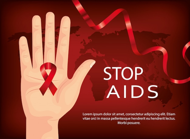 Banner of stop aids day with hand and ribbon