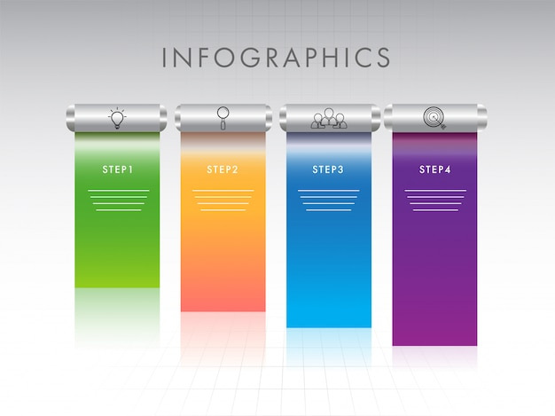 Banner style infographic layout with four different steps on glo
