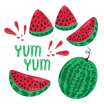 Banner summer mood juicy watermelons vector illustration in handdrawn style