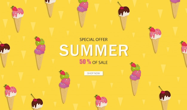 Banner summer sale. ice cream with chocolate, fruit, nuts, pistachios, strawberries, cherrie