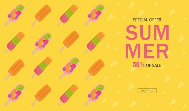 Banner summer sale. ice cream with fruit, nuts, strawberries, kiwi, orange