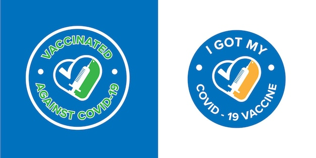 Banner symbol with text i got my covid-19 vaccine for vaccinated persons. coronavirus vaccine campaign sticker. medical and health concepts