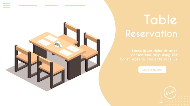 Banner of table reservation in cafe concept. isometric view of chairs and table, napkins. modern  interior. online reserved table in restaurant. banner template design, landing page