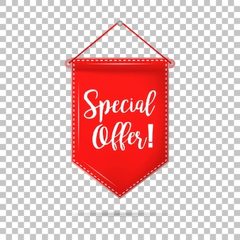 Banner tag special offer with shadow on isolated background