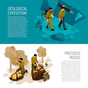 Banner template about expedition fieldwork gear and rocks minerals testing kit vector illustration