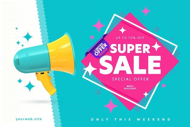 Banner template announcing super sale mega weekend discount.