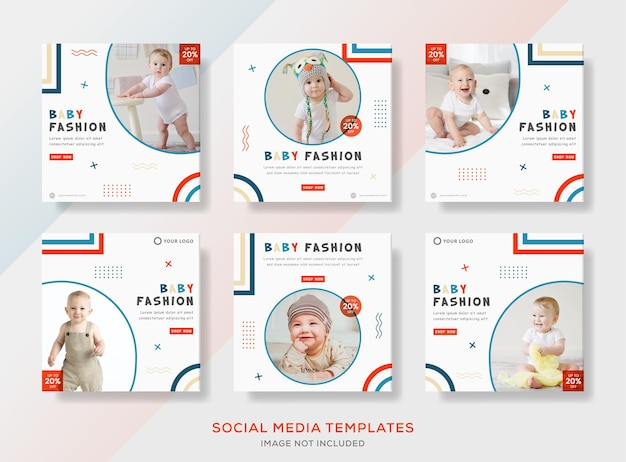 Banner template for baby fashion sale clothes.