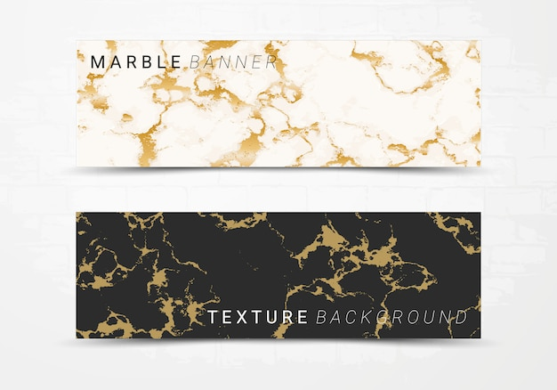 Banner template of black and white marble texture background.