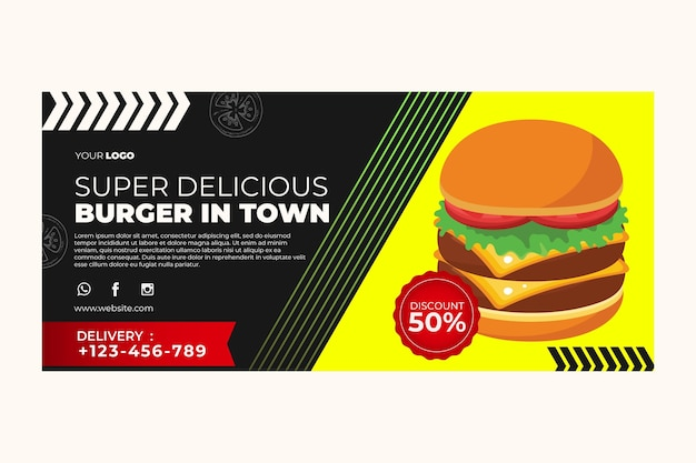 Banner template for burger restaurant Free Vector
