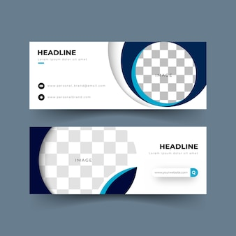 Banner  template collection, blue color shapes, blurry images, for social media use