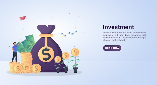 Баннер шаблон концепции инвестиций с большим денежным мешком.