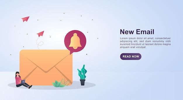 봉투에 벨 마크와 함께 새 이메일의 배너 템플릿 개념.