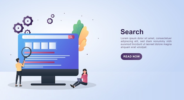 Banner template concept of search with people who are searching on a computer.