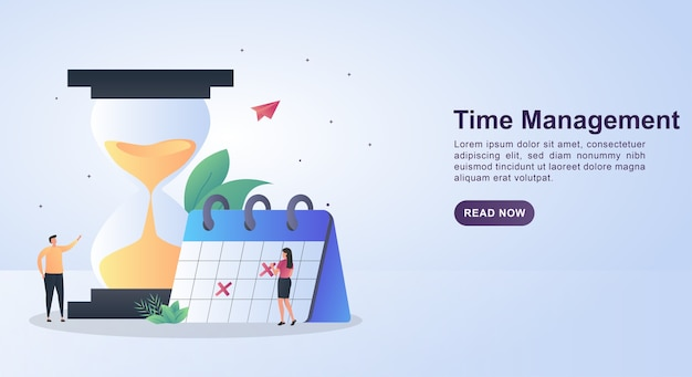 Banner template concept of time management with a large hourglass and a person viewing calendar.