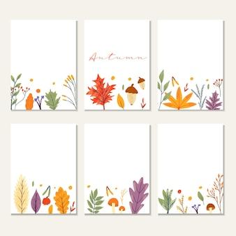 Шаблон баннера украшен осенними модными элементами и текстом. падающие листья ягоды и грибы. записки набор элементов осеннего сезона. плоские естественные векторные иллюстрации для рекламы, продвижения