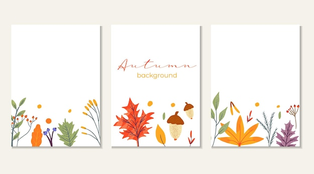 Banner template decorated with autumn trendy elements and text. falling leaves berry and mushroom. scrapbook set for season cards . flat natural vector illustration for advertisement, promotion.