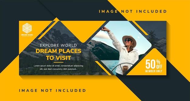 방문 할 세계 꿈의 장소를 탐험하기위한 배너 템플릿 디자인. 사진을위한 정사각형 공간이있는 가로 레이아웃. 노란색 요소와 투명도 검은 배경.