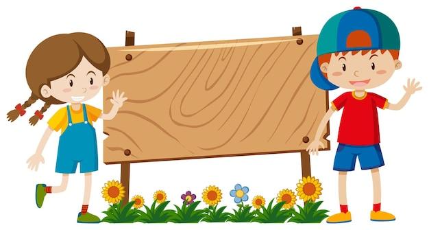 Дизайн шаблона баннера с мальчиком и девочкой в саду