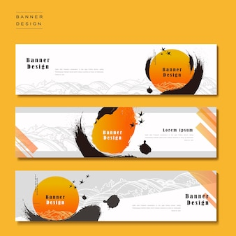 Banner template design with ink brush and geometric graphic