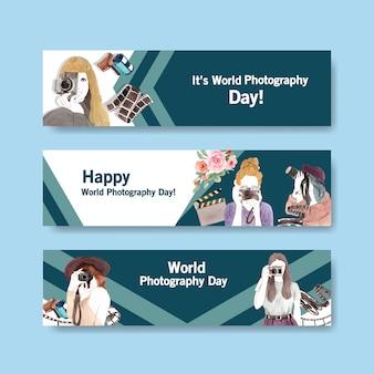 Дизайн шаблона баннера с всемирным днем фотографии для рекламы и брошюр