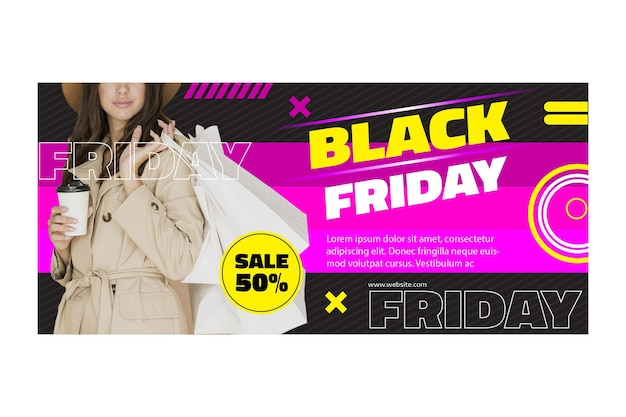 Banner template female model black friday